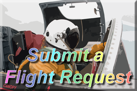 "Background image of an astronaught shaped like a button that reads ""Submit a Flight Request'"